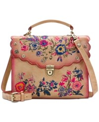 Patricia Nash Prairie Rose Embroidery Simona Small Satchel Sand