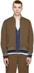 Robert Geller Khaki Canvas Bomber Jacket