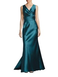Liancarlo V Neck Sleeveless Satin Gown Smoke Turquoise