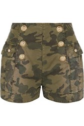 Balmain Button Embellished Camouflage Print Cotton Blend Shorts Army Green