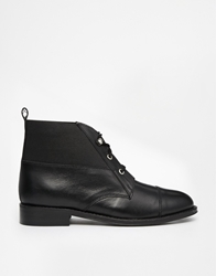 Park Lane Leather Cuff Lace Up Ankle Boots Black