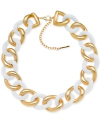 T Tahari Gold Tone White Chunky Link Necklace