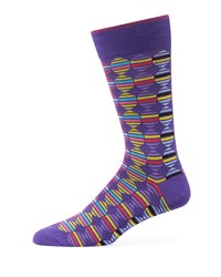 Duchamp Striped Circle Cotton Socks Purple