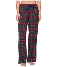 Lauren Ralph Lauren Brushed Twill Long Pants Plaid Red Green Blue Women's Pajama