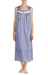 Eileen West Chambray Long Nightgown Navy Chmbry Grnd Fl Toss