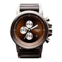 Vestal Plexi Leather Watch Silver Black Brown