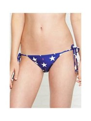 Wildfox Couture Star And Gingham Print Reversible Bikini Bottom Blue Red Blue Red