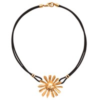 Gerard Yosca Flowerball On Leather Necklace Gold