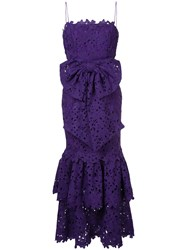 Bambah Lace Double Ruffle Dress Polyester Pink Purple