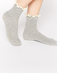 Asos Crochet Trim Socks Grey