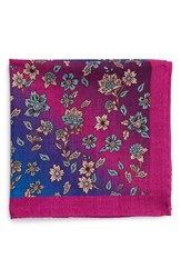 Men's Ted Baker London Paisley Floral Wool Pocket Square Pink Fuchsia