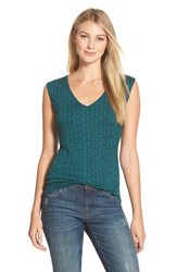 Women's Halogen Sleeveless V Neck Top Teal Black Highline Print