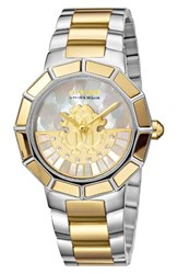 Roberto Cavalli Women's By Franck Muller Rotating Dial Bracelet Watch 37Mm Silver White Mop Gold