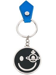 Vivienne Westwood Smiley Keyring Unisex Leather Metal One Size Metallic