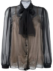 Dolce And Gabbana Semi Sheer Pussybow Blouse Black