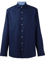 Hackett Jacquard Button Down Shirt Blue