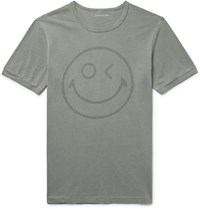Outerknown Happy Printed Organic Pima Cotton Jersey T Shirt Sage Green