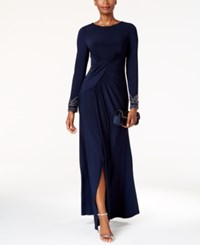 Vince Camuto Beaded Draped Gown Navy
