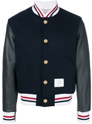 Thom Browne Button Front Melton Wool Varsity Jacket Blue
