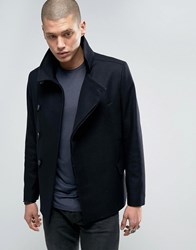 Allsaints Double Breasted Peacoat Jacket Navy