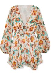 Caroline Constas Olena Floral Print Silk Chiffon Mini Dress White
