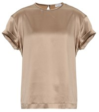 Brunello Cucinelli Stretch Silk Satin T Shirt Brown