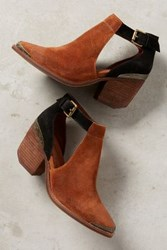 Anthropologie Jeffrey Campbell Woodruff Cutout Ankle Booties Tan Suede Black Suede