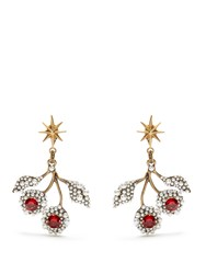 Gucci Crystal Embellished Cherry Earrings Red Multi