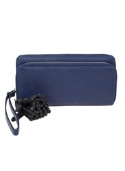 Dents Large Soft Leather Purse With Tassle Royal Blue