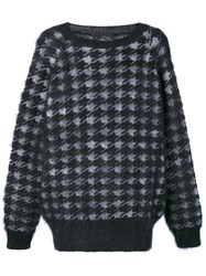 Haider Ackermann Houndstooth Pattern Jumper Men Silk Mohair Wool S Black