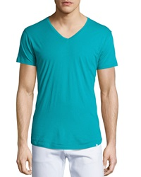 Orlebar Brown Short Sleeve Jersey V Neck Tee Aqua