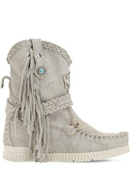 El Vaquero 70Mm Arya Fringed Leather Boots Silver