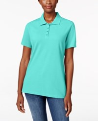 Karen Scott Short Sleeve Polo Top Only At Macy's Pacific Aqua