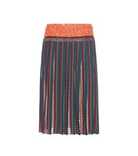 Tory Burch Nadia Pleated Silk Midi Skirt Multicoloured
