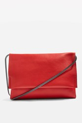 Topshop Charlie Unlined Clutch Bag Red