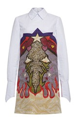 Mary Katrantzou Steal Print Jacquard Shirt Dress White Blue Yellow
