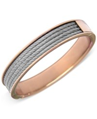Charriol Womens Two Tone Cable Bangle Bracelet Rose Gold