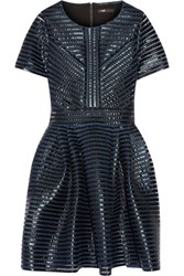 Maje Roybridge Coated Mesh Mini Dress Blue