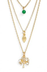 Women's Sequin 'Color Karma' Triple Strand Pendant Necklace Gold Tree