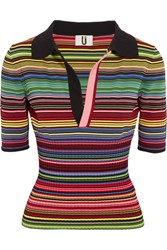 Topshop Unique Striped Ribbed Stretch Knit Polo Shirt Pink