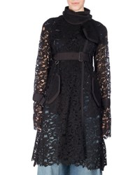 Sacai Belted Sheer Lace Coat Black