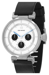 Issey Miyake Chronograph Leather Strap Watch 39Mm Black White Silver