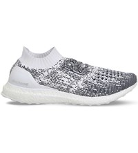 Adidas Ultra Boost Patterned Knitted Trainers Non Dyed White Navy