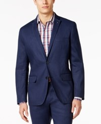 Inc International Concepts Men's Slim Fit Stretch Linen Blazer Only At Macy's Navy