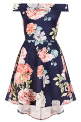 Quiz Navy And Coral Flower Print Bardot Dress Blue