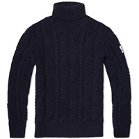 Moncler Gamme Bleu Cable Knit Roll Neck Navy