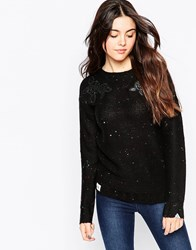 Bellfield Long Sleeve Jumper With Embrodiered Detail Black