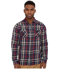 Mavi Jeans Lined Checked Button Down Blue Checked Men's Long Sleeve Button Up Bone