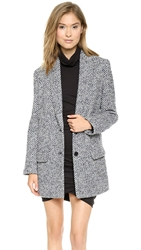 Pam And Gela Wool Check Coat Blue Check