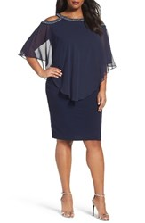 Alex Evenings Plus Size Women's Embellished Cold Shoulder Overlay Cocktail Dress